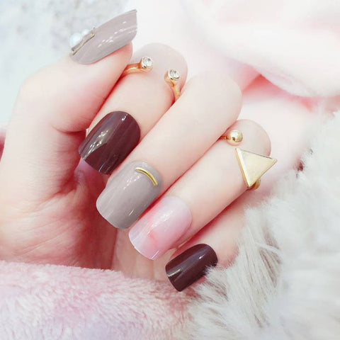 24 pcs red & gray with metallic decor false nails for women