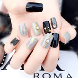 24 Pcs cool gray & black color with crystal false nails for women
