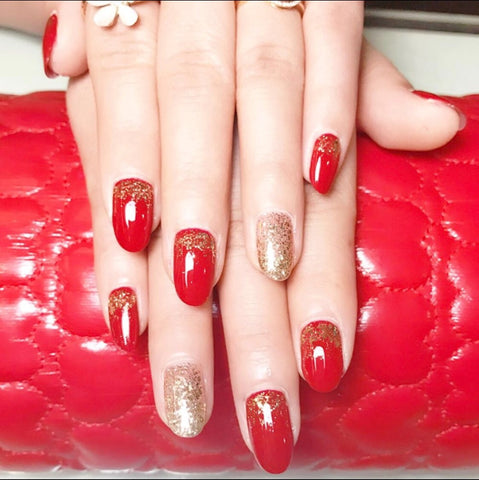 24 pcs elegant red color & gold powder pattern false nails