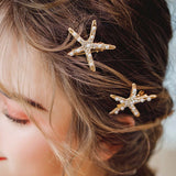 trendy crystal & simulated pearl golden starfish design hair pin set