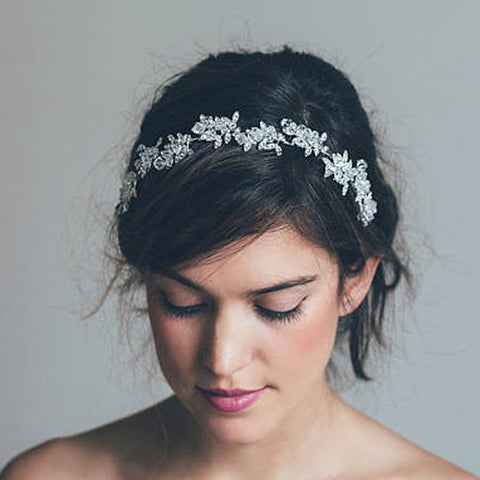 elegant sparkling clear crystal flowers hairband tiara jewelry