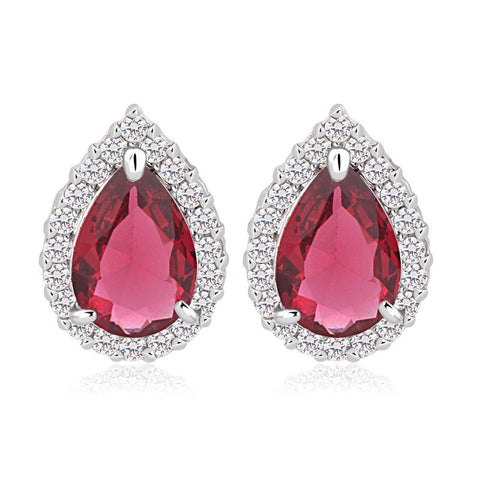 luxury teardrop cubic zirconia crystal stud earrings