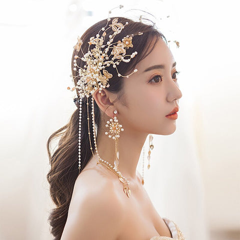 romantic golden leaves with crystal & pearl hair band & earring set