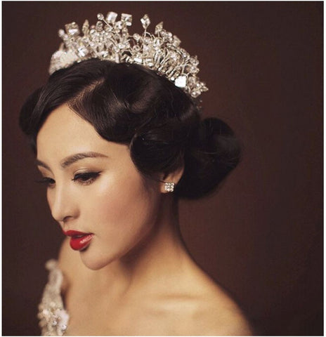 luxury full crystal beads hollow hair band tiara crown for women