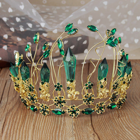 luxury big size green crystal hollow golden hair tiara crown for women