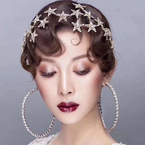 trendy gold color star with shinny crystal ornament hair band tiara