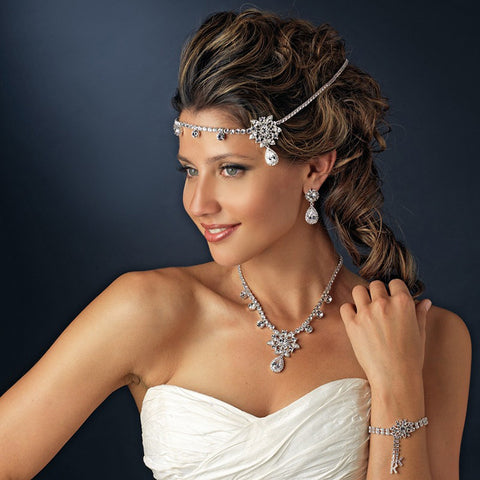 luxury crystal floral forehead hair band tiara for women