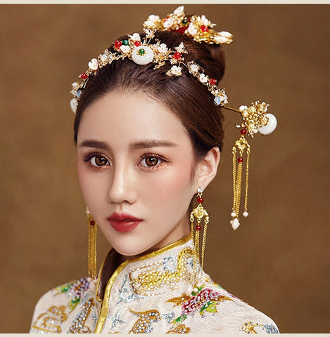 traditional chinese golden flower with tassel hairpins & earring set