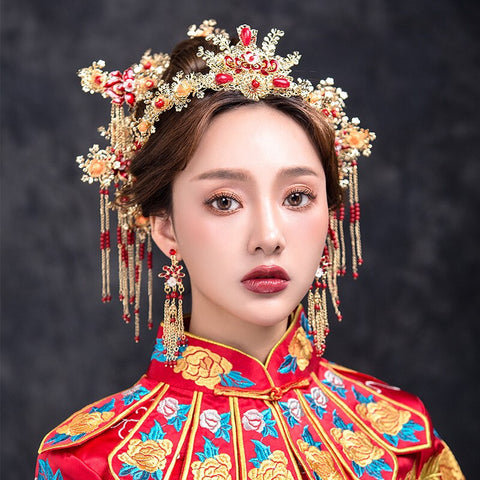 chinese red & gold flowers with tassel hair sticks & earring set