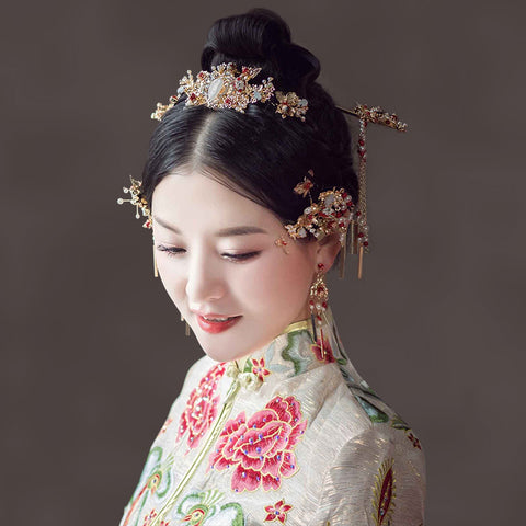 chinese style golden butterfly & flower hair sticks with earring set