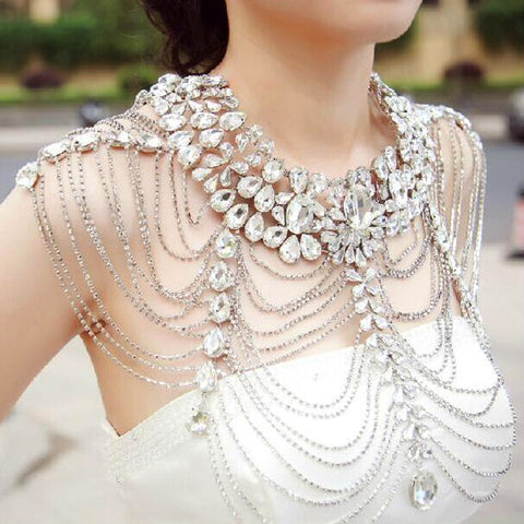 vintage luxury long crystal shoulder tassel chain body jewelry