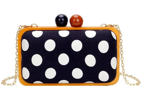 vintage polka dot pattern wooden shoulder bag for women