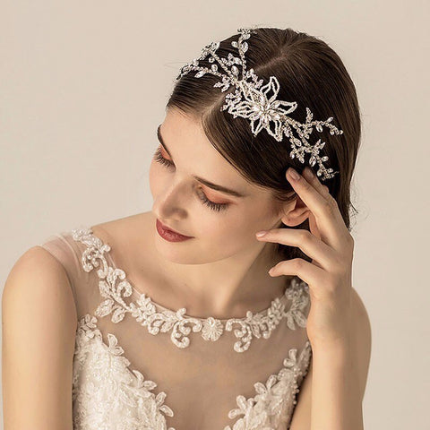 luxury silver color full crystal hollow hair band tiara for women