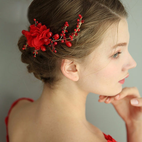 romantic red fabric flower with pearl hair clip for women