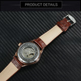 vintage mechanical skeleton dial leather band wrist watch for men