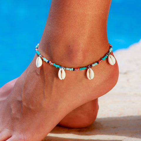 bohemian natural shells tassel beaded anklet for women