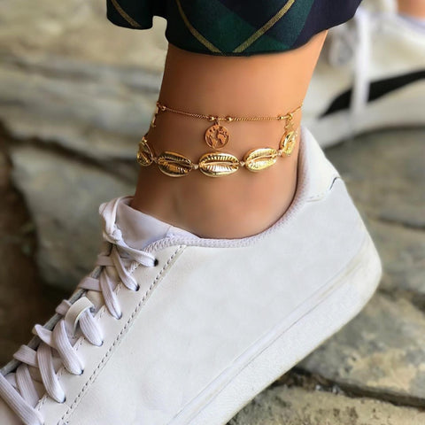 2 pcs trendy gold color metal shell charm anklet set for women