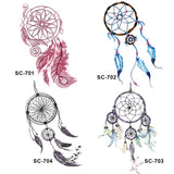 bohemian dream catcher pattern temporary tattoo sticker