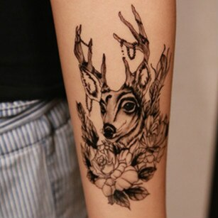 trendy deer & flowers pattern temporary tattoo sticker