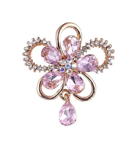 elegant hollow flower shaped crystal brooch pin for women