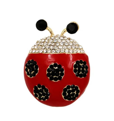 cute crystal & red enamel ladybug shaped brooch pins for women