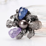 vintage acrylic & imitation pearl flower brooch pin for women