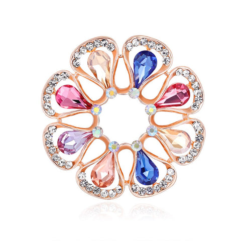 elegant colorful crystal rhinestones hollow flower brooch pin