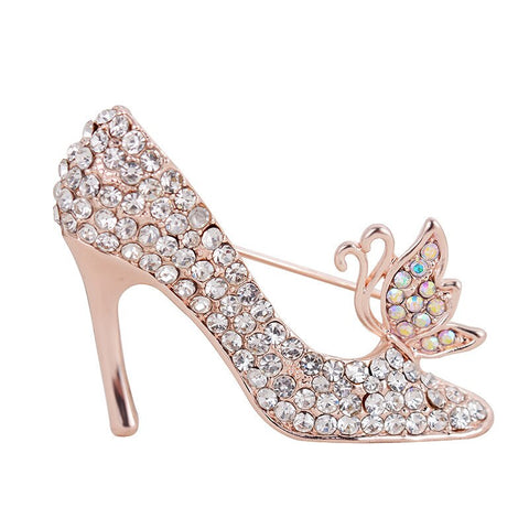 elegant full crystal rhinestone high heel shoe brooch pin for women