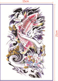 2 pcs colorful fish chines pattern temporary tattoo sticker