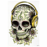 cool floral skull with headphones pattern temporary tattoo sticker