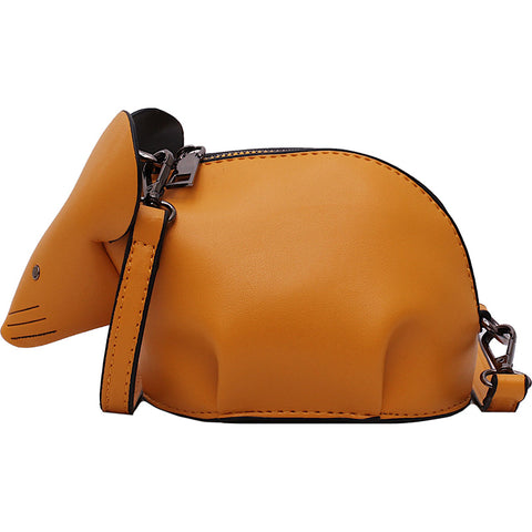 cute mouse design pu leather mini shoulder bag for women