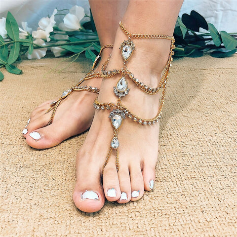 luxury multi layered crystal tassel foot chain anklet for women