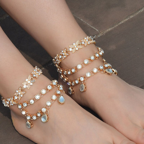 luxury three layers water drop crystal charms anklet for women