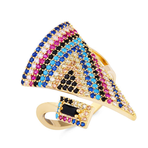 trendy colorful cz triangle big ring for women