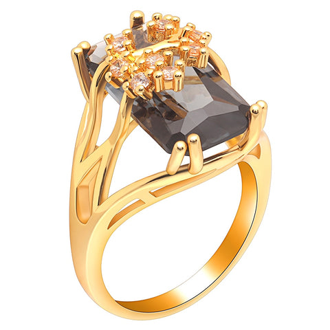 trendy golden branch shaped with black cubic zircon ring for women