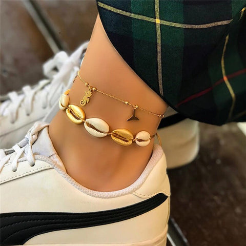 2 pcs bohemian natural shell charm anklet for women