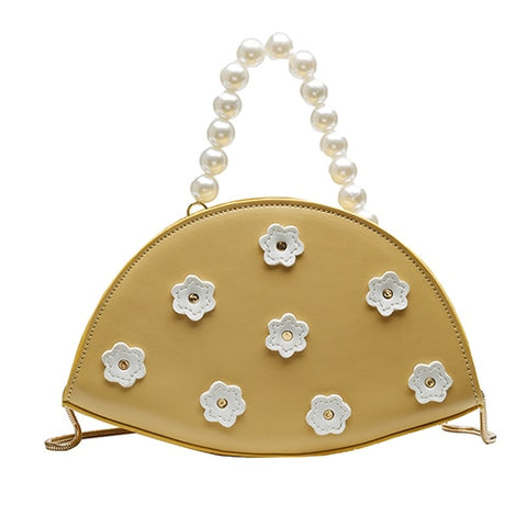 romantic flower printed imitation pearl chain hand bag for women
