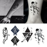 trendy astronaut & planets pattern temporary tattoo sticker