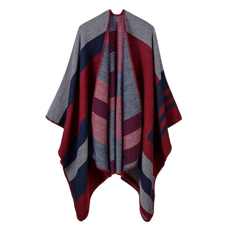 casual striped print hooded long poncho scarf for women