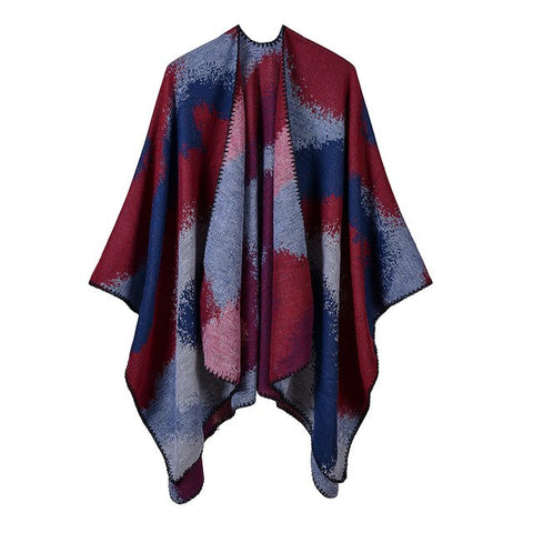 casual colorful print knitted thick long poncho scarf for women