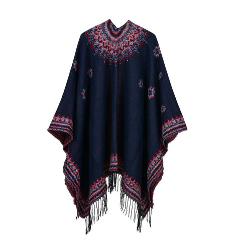 casual flower print knitted long tassel poncho scarf for women