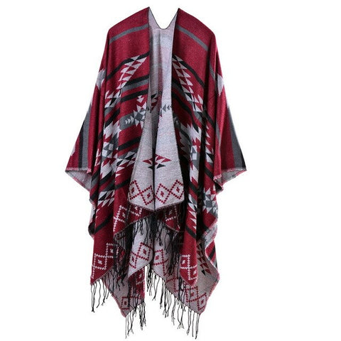 bohemian geometric print knitted tassel poncho scarf for women