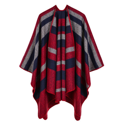 casual striped print long thick poncho scarf for women