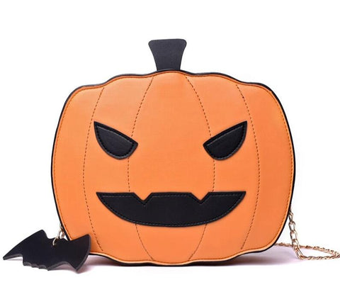 cute hollowing pumpkin shaped leather shoulder bag for women