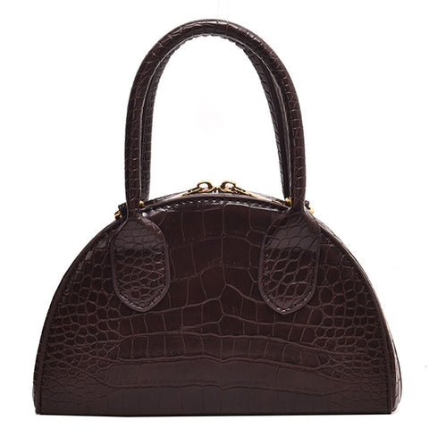elegant crocodile pattern leather tote hand bag for women