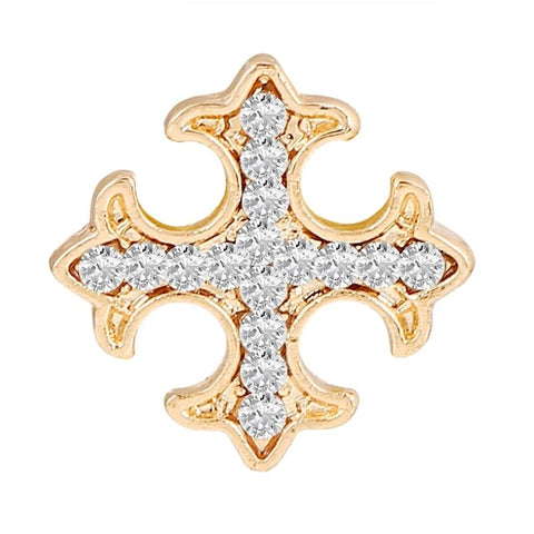 elegant full crystal cross shaped brooch pin