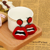 hip hop acrylic red sexy lips earrings for women