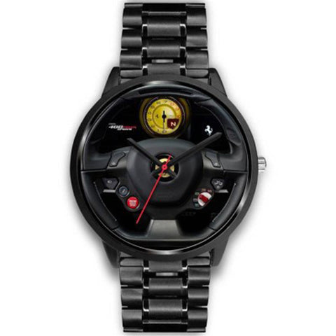 cool racing steering wheel shaped dial steel wrist watch for men