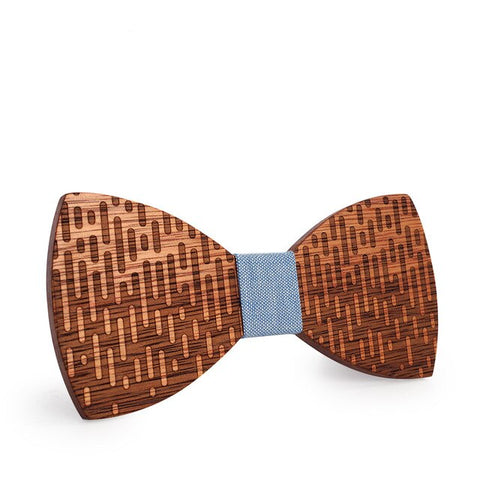 trendy carved geometric pattern wooden butterfly bow tie for men