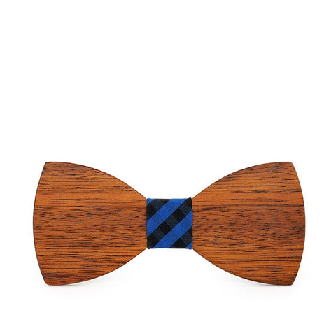 trendy solid pattern wooden butterfly bow tie for men